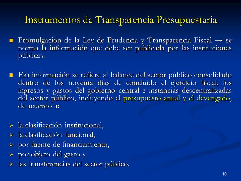 10 Instrumentos de Transparencia Presupuestaria Promulgación de la Ley de Prudencia y Transparencia Fiscal se norma la información que debe ser publicada por las instituciones públicas.