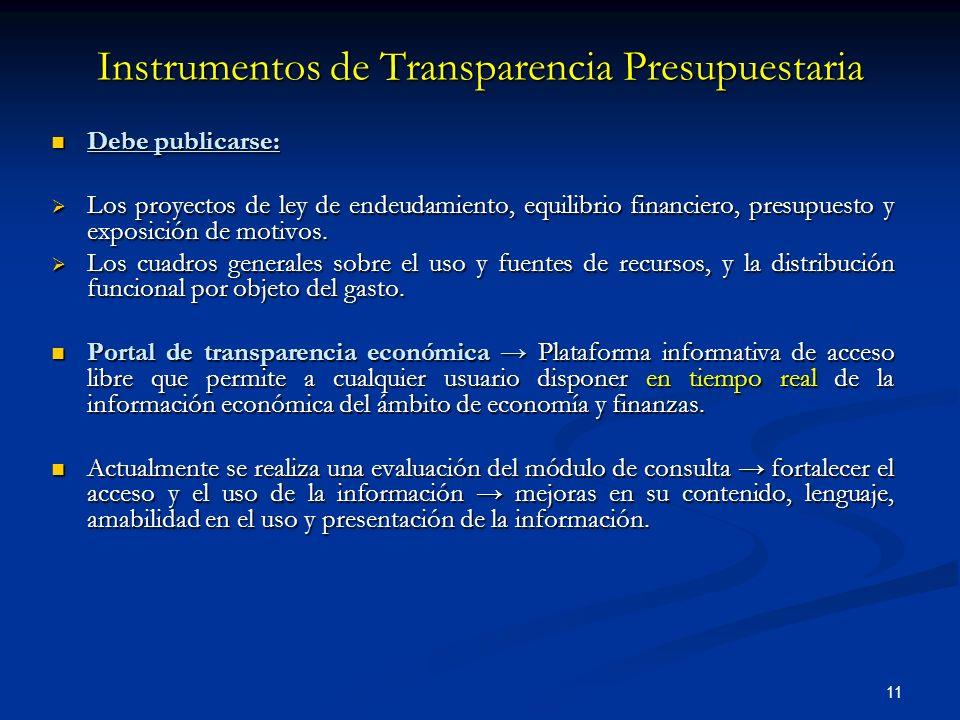 11 Debe publicarse: Debe publicarse: Los proyectos de ley de endeudamiento, equilibrio financiero, presupuesto y exposición de motivos.