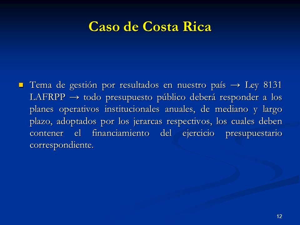12 Caso de Costa Rica Tema de gestión por resultados en nuestro país Ley 8131 LAFRPP todo presupuesto público deberá responder a los planes operativos