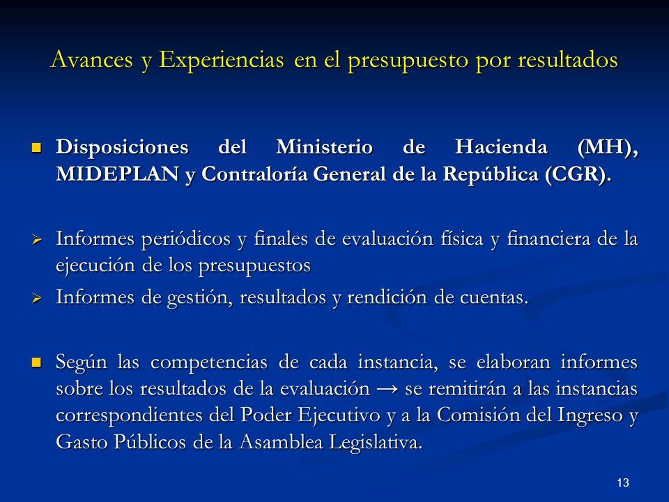 13 Disposiciones del Ministerio de Hacienda (MH), MIDEPLAN y Contraloría General de la República (CGR). Disposiciones del Ministerio de Hacienda (MH),