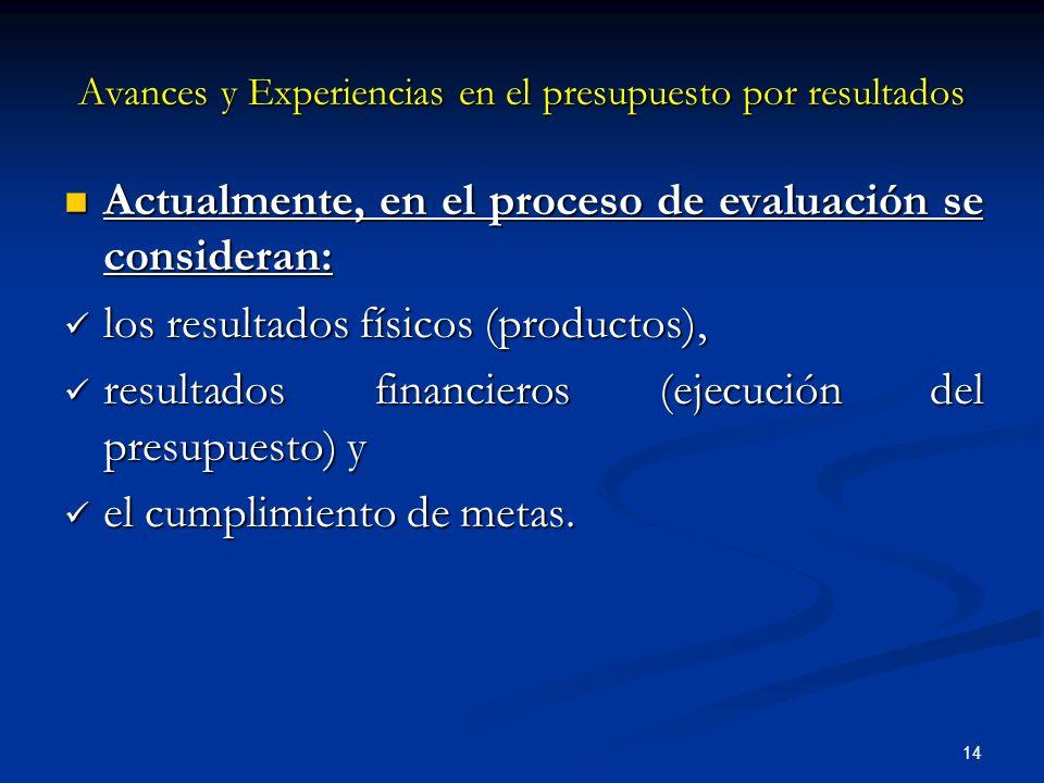 14 Actualmente, en el proceso de evaluación se consideran: Actualmente, en el proceso de evaluación se consideran: los resultados físicos (productos), los resultados físicos (productos), resultados financieros (ejecución del presupuesto) y resultados financieros (ejecución del presupuesto) y el cumplimiento de metas.