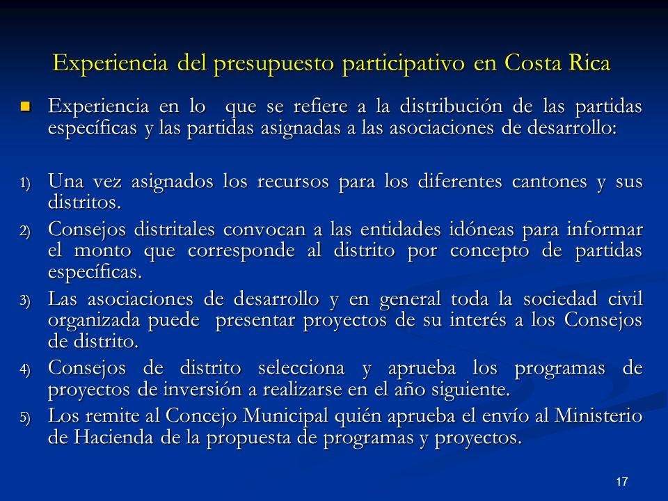 17 Experiencia del presupuesto participativo en Costa Rica Experiencia en lo que se refiere a la distribución de las partidas específicas y las partidas asignadas a las asociaciones de desarrollo: Experiencia en lo que se refiere a la distribución de las partidas específicas y las partidas asignadas a las asociaciones de desarrollo: 1) Una vez asignados los recursos para los diferentes cantones y sus distritos.