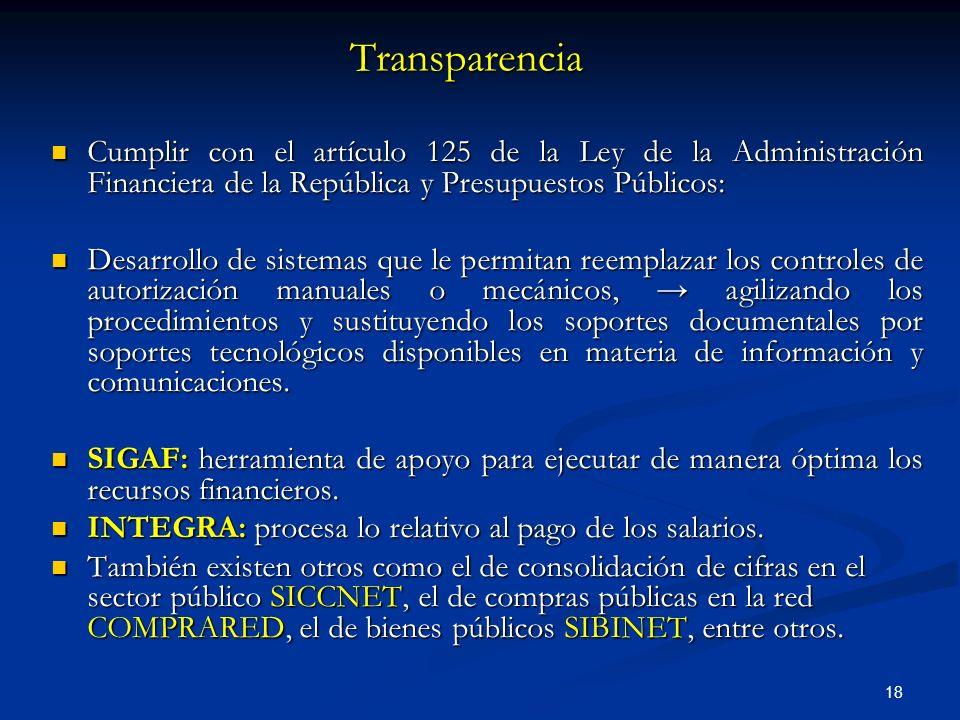 18 Transparencia Cumplir con el artículo 125 de la Ley de la Administración Financiera de la República y Presupuestos Públicos: Cumplir con el artícul