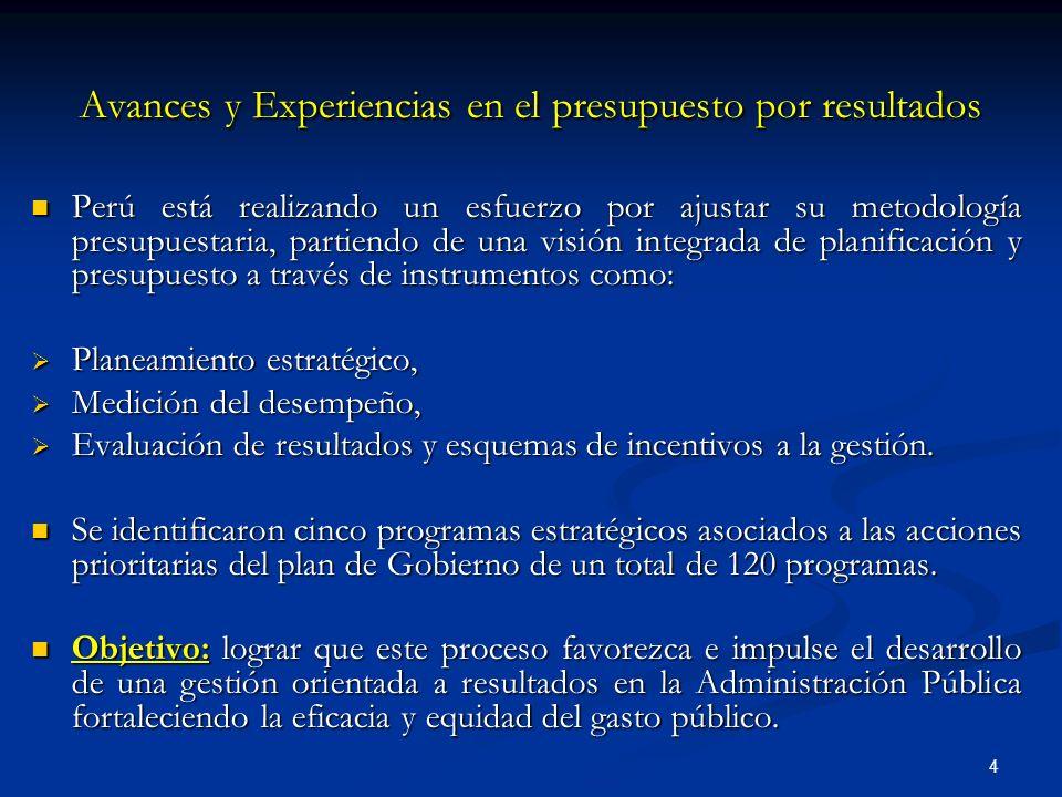 4 Avances y Experiencias en el presupuesto por resultados Perú está realizando un esfuerzo por ajustar su metodología presupuestaria, partiendo de una visión integrada de planificación y presupuesto a través de instrumentos como: Perú está realizando un esfuerzo por ajustar su metodología presupuestaria, partiendo de una visión integrada de planificación y presupuesto a través de instrumentos como: Planeamiento estratégico, Planeamiento estratégico, Medición del desempeño, Medición del desempeño, Evaluación de resultados y esquemas de incentivos a la gestión.