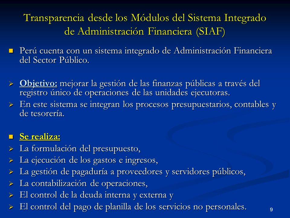9 Transparencia desde los Módulos del Sistema Integrado de Administración Financiera (SIAF) Perú cuenta con un sistema integrado de Administración Financiera del Sector Público.