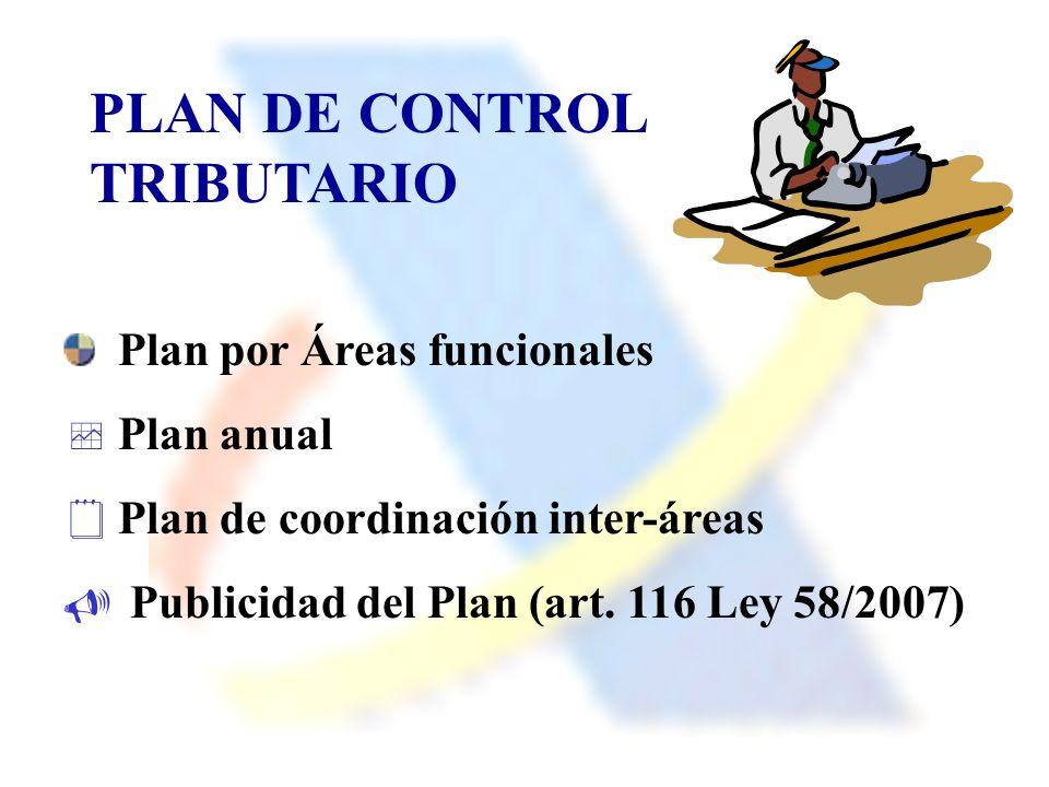 PLAN DE CONTROL TRIBUTARIO Plan por Áreas funcionales Plan anual Plan de coordinación inter-áreas Publicidad del Plan (art. 116 Ley 58/2007)