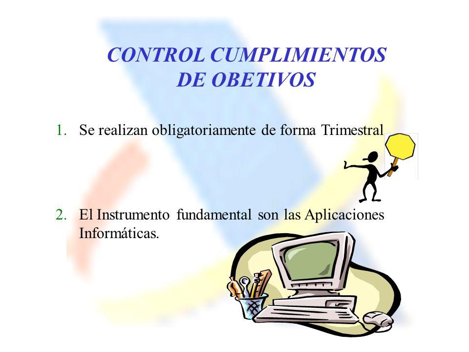 CONTROL CUMPLIMIENTOS DE OBETIVOS 1.Se realizan obligatoriamente de forma Trimestral 2.El Instrumento fundamental son las Aplicaciones Informáticas.
