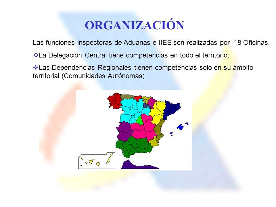 Las funciones inspectoras de Aduanas e IIEE son realizadas por 18 Oficinas. La Delegación Central tiene competencias en todo el territorio. Las Depend