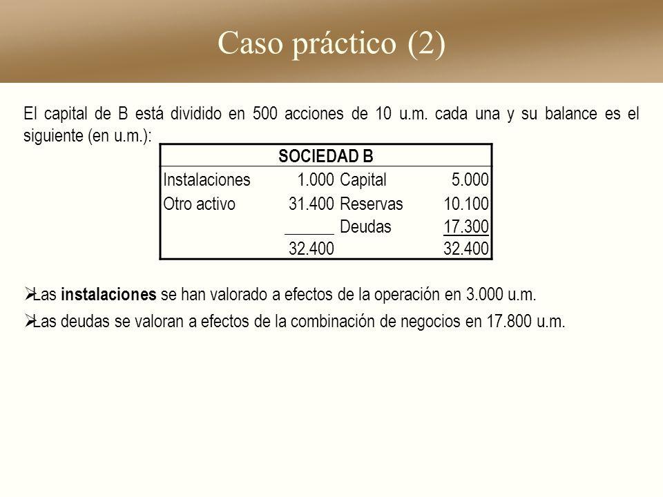 Caso práctico (2) El capital de B está dividido en 500 acciones de 10 u.m. cada una y su balance es el siguiente (en u.m.): Las instalaciones se han v