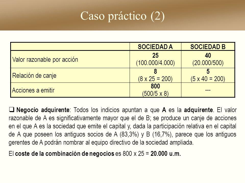 Caso práctico (2) Negocio adquirente : Todos los indicios apuntan a que A es la adquirente. El valor razonable de A es significativamente mayor que el
