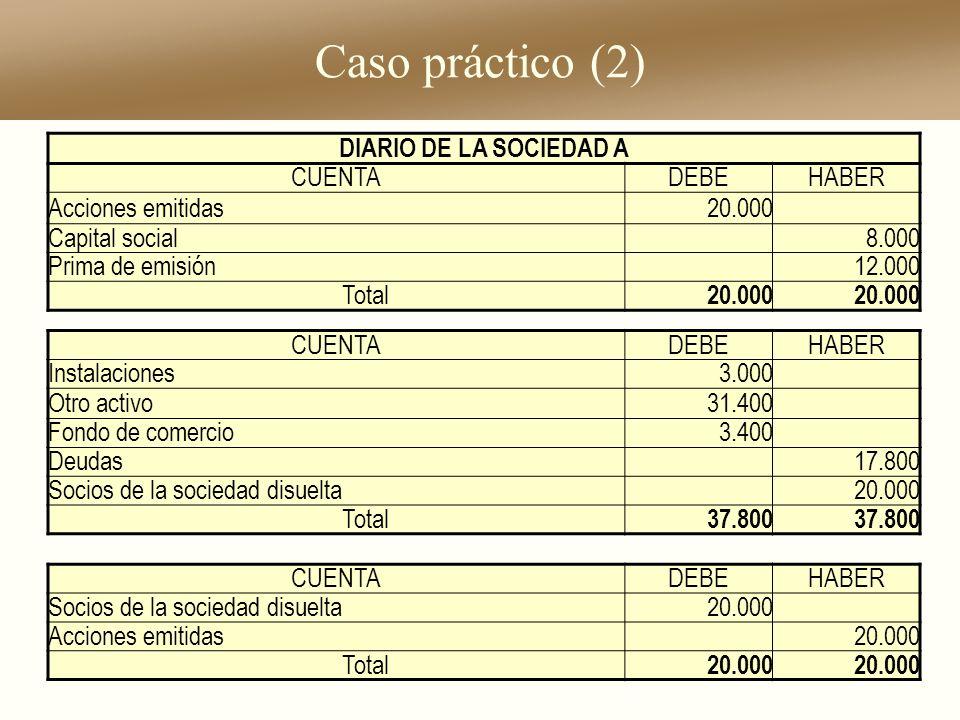Caso práctico (2) DIARIO DE LA SOCIEDAD A CUENTADEBEHABER Acciones emitidas20.000 Capital social8.000 Prima de emisión12.000 Total 20.000 CUENTADEBEHA