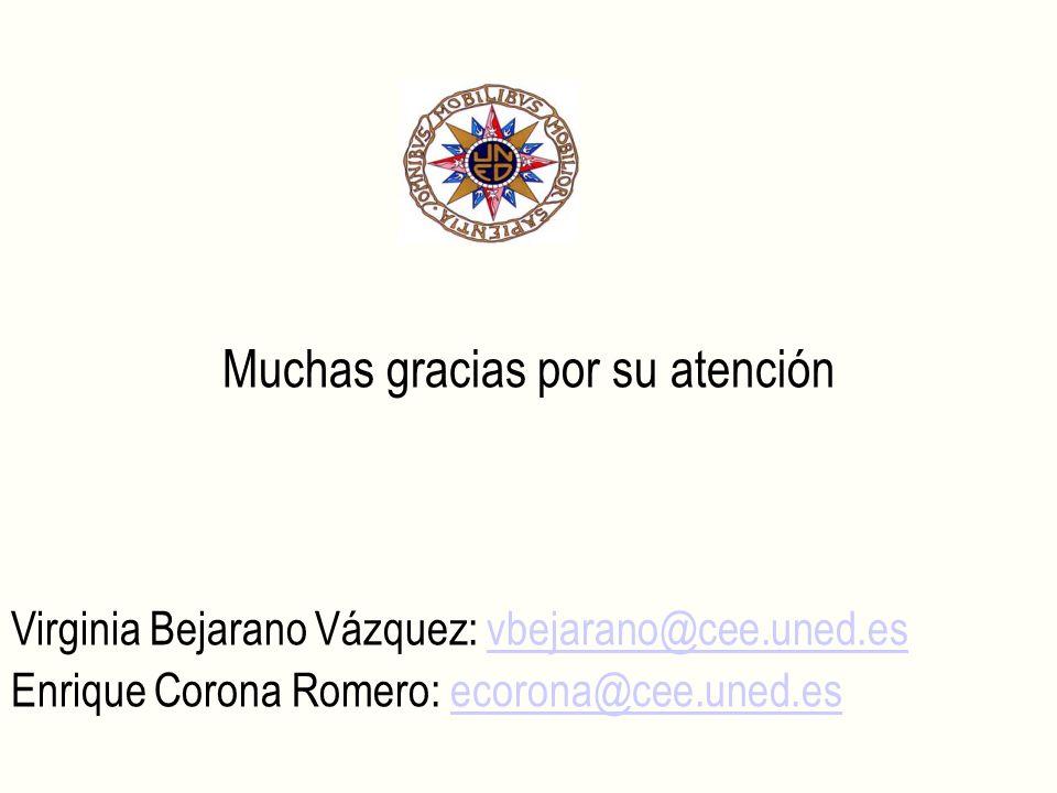 Muchas gracias por su atención Virginia Bejarano Vázquez: vbejarano@cee.uned.esvbejarano@cee.uned.es Enrique Corona Romero: ecorona@cee.uned.esecorona