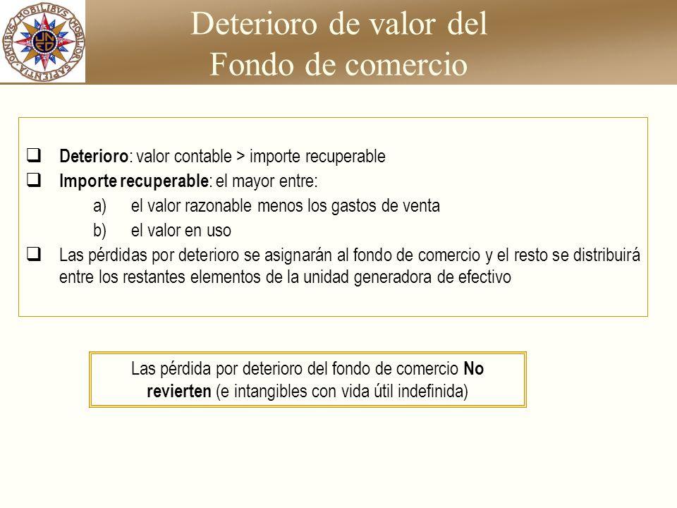 Deterioro de valor del Fondo de comercio Deterioro : valor contable > importe recuperable Importe recuperable : el mayor entre: a) el valor razonable