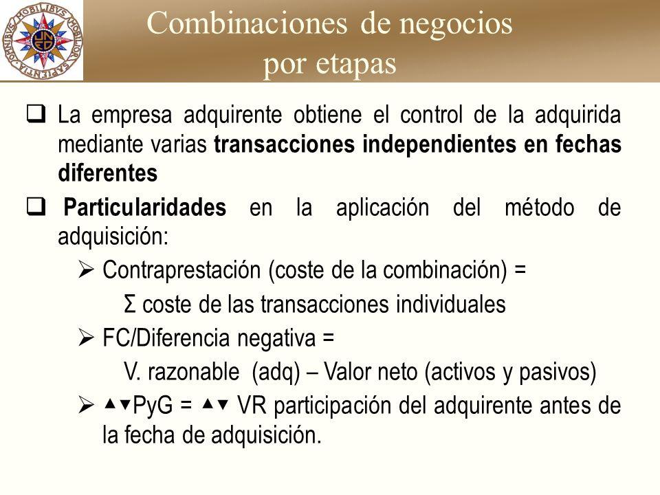 Combinaciones de negocios por etapas La empresa adquirente obtiene el control de la adquirida mediante varias transacciones independientes en fechas d