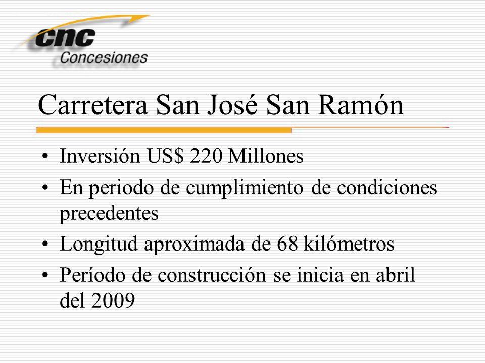 Carretera San José San Ramón Inversión US$ 220 Millones En periodo de cumplimiento de condiciones precedentes Longitud aproximada de 68 kilómetros Per