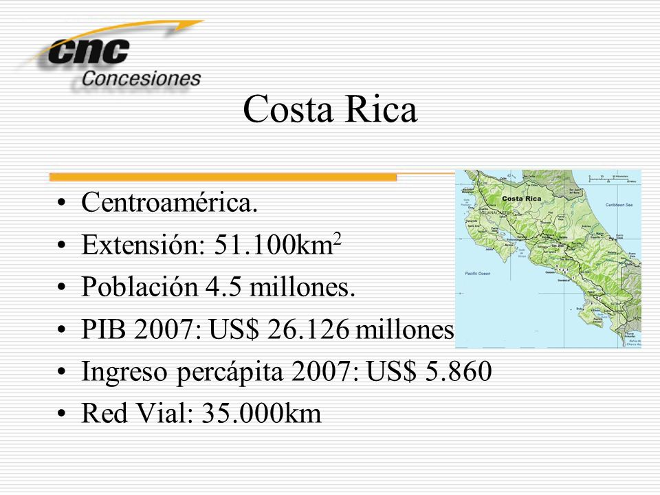Costa Rica Centroamérica. Extensión: 51.100km 2 Población 4.5 millones. PIB 2007: US$ 26.126 millones Ingreso percápita 2007: US$ 5.860 Red Vial: 35.0