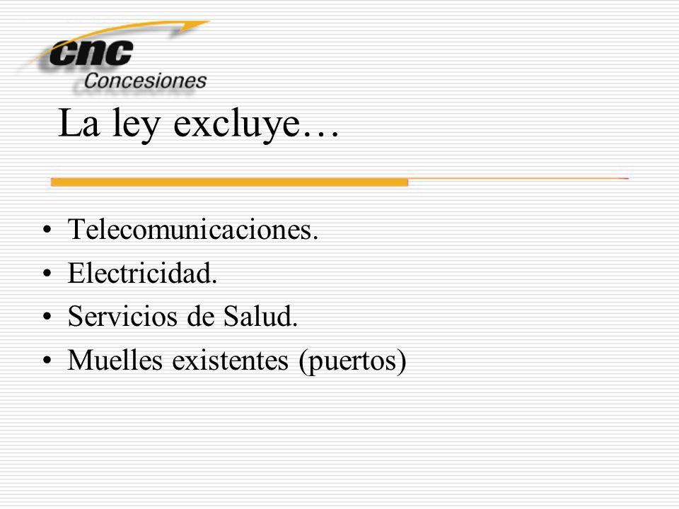 La ley excluye… Telecomunicaciones. Electricidad. Servicios de Salud. Muelles existentes (puertos)