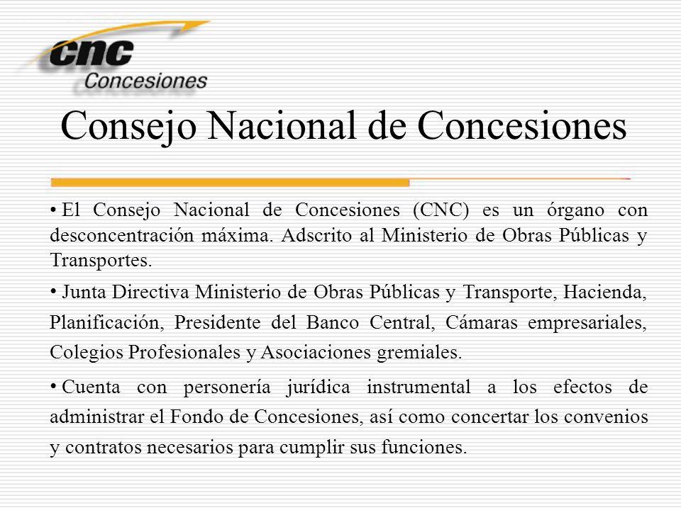 Consejo Nacional de Concesiones El Consejo Nacional de Concesiones (CNC) es un órgano con desconcentración máxima. Adscrito al Ministerio de Obras Púb