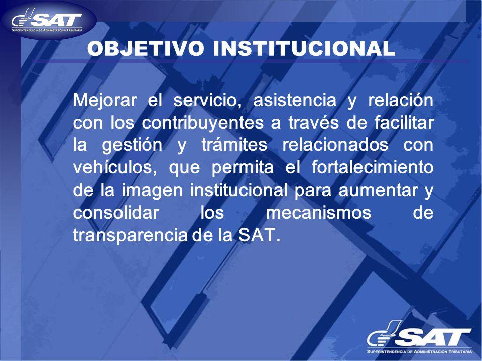 OBJETIVO INSTITUCIONAL Mejorar el servicio, asistencia y relación con los contribuyentes a través de facilitar la gestión y trámites relacionados con