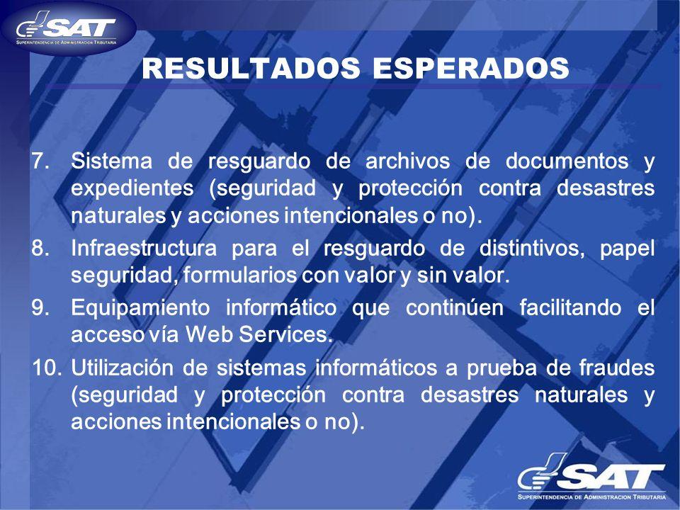 RESULTADOS ESPERADOS 7.Sistema de resguardo de archivos de documentos y expedientes (seguridad y protección contra desastres naturales y acciones inte