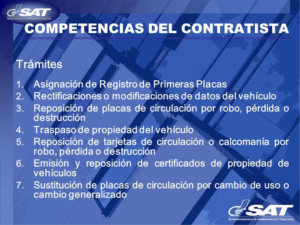 COMPETENCIAS DEL CONTRATISTA Trámites 1. Asignación de Registro de Primeras Placas 2. Rectificaciones o modificaciones de datos del vehículo 3. Reposi