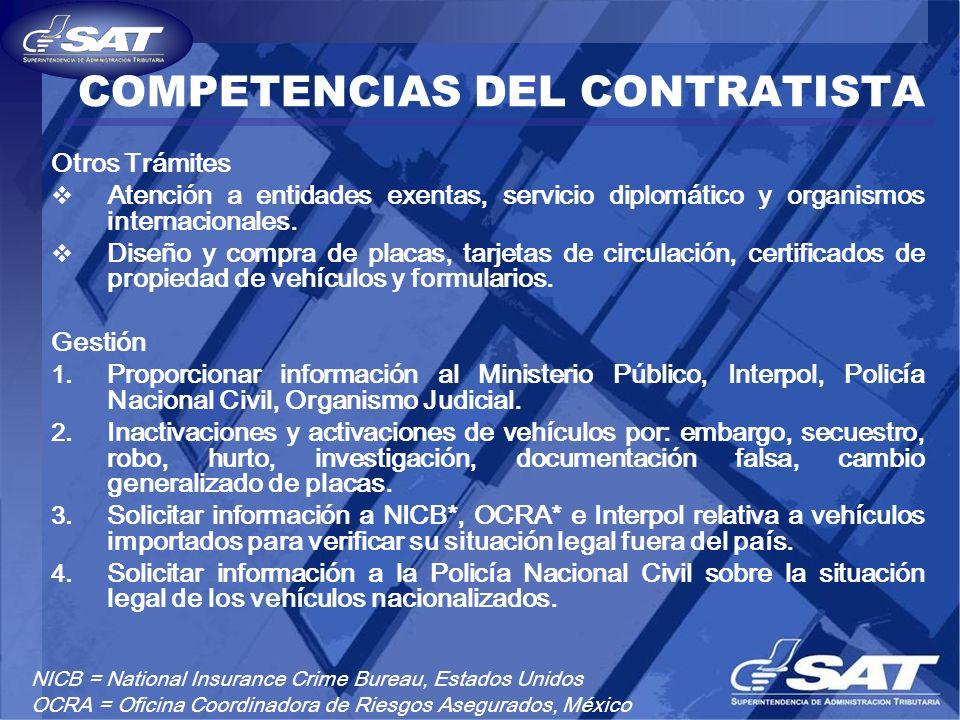 COMPETENCIAS DEL CONTRATISTA Otros Trámites Atención a entidades exentas, servicio diplomático y organismos internacionales. Diseño y compra de placas