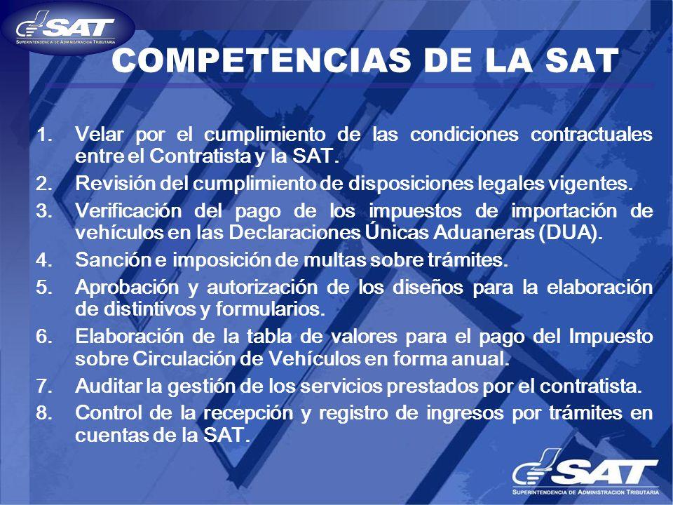 COMPETENCIAS DE LA SAT 1. Velar por el cumplimiento de las condiciones contractuales entre el Contratista y la SAT. 2. Revisión del cumplimiento de di