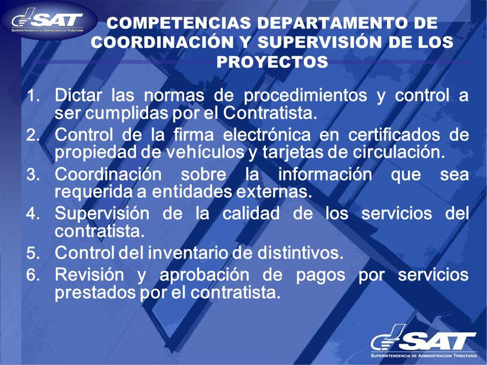 COMPETENCIAS DEPARTAMENTO DE COORDINACIÓN Y SUPERVISIÓN DE LOS PROYECTOS 1. Dictar las normas de procedimientos y control a ser cumplidas por el Contr
