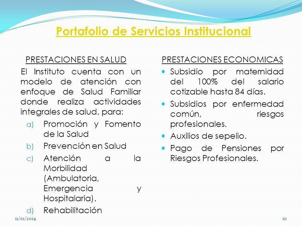 Portafolio de Servicios Institucional PRESTACIONES EN SALUD El Instituto cuenta con un modelo de atención con enfoque de Salud Familiar donde realiza