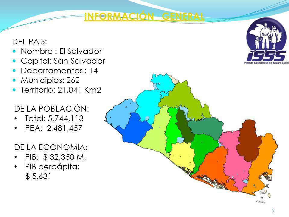 INFORMACIÓN GENERAL DEL PAIS: Nombre : El Salvador Capital: San Salvador Departamentos : 14 Municipios: 262 Territorio: 21,041 Km2 7 DE LA POBLACIÓN: Total: 5,744,113 PEA: 2,481,457 DE LA ECONOMIA: PIB:$ 32,350 M.
