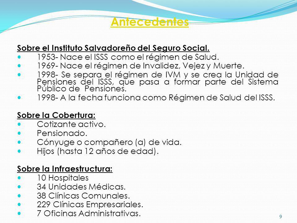 Antecedentes Sobre el Instituto Salvadoreño del Seguro Social. 1953- Nace el ISSS como el régimen de Salud. 1969- Nace el régimen de Invalidez, Vejez