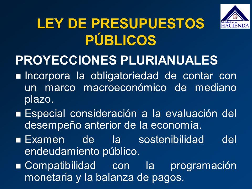PROYECCIONES PLURIANUALES Incorpora la obligatoriedad de contar con un marco macroeconómico de mediano plazo. Especial consideración a la evaluación d
