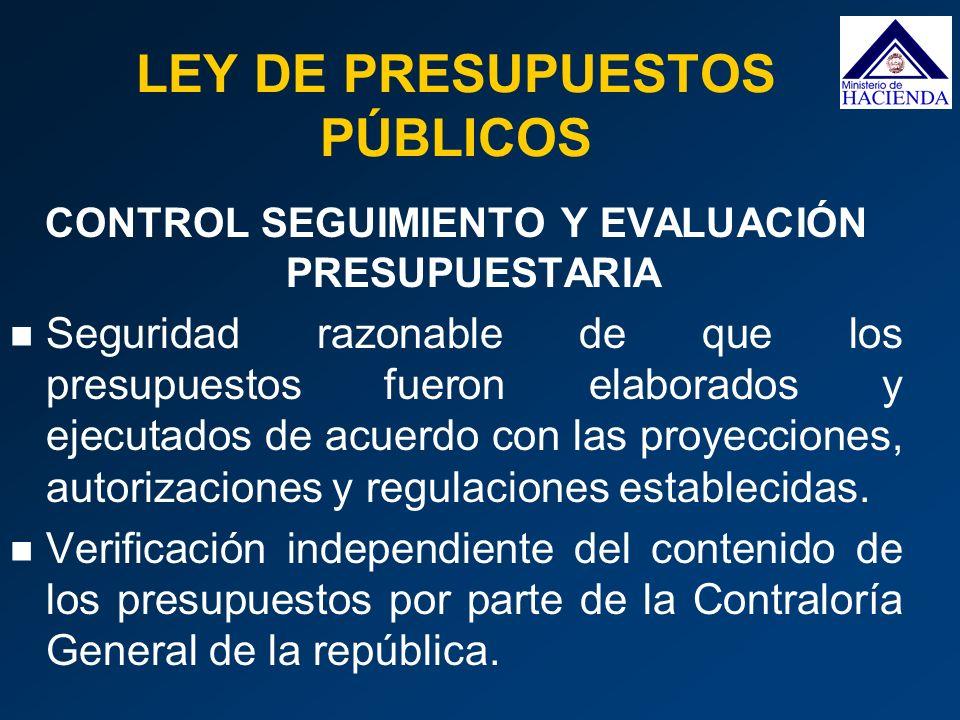 CONTROL SEGUIMIENTO Y EVALUACIÓN PRESUPUESTARIA Seguridad razonable de que los presupuestos fueron elaborados y ejecutados de acuerdo con las proyecci