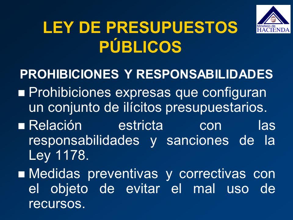 PROHIBICIONES Y RESPONSABILIDADES Prohibiciones expresas que configuran un conjunto de ilícitos presupuestarios. Relación estricta con las responsabil