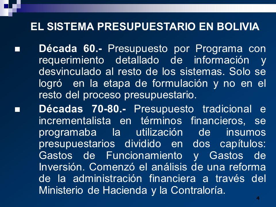 4 Década 60.- Presupuesto por Programa con requerimiento detallado de información y desvinculado al resto de los sistemas. Solo se logró en la etapa d