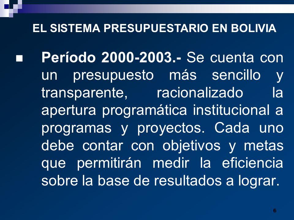 6 Período 2000-2003.- Se cuenta con un presupuesto más sencillo y transparente, racionalizado la apertura programática institucional a programas y pro