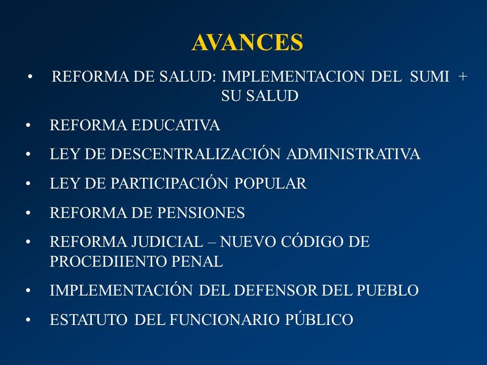 AVANCES REFORMA DE SALUD: IMPLEMENTACION DEL SUMI + SU SALUD REFORMA EDUCATIVA LEY DE DESCENTRALIZACIÓN ADMINISTRATIVA LEY DE PARTICIPACIÓN POPULAR RE