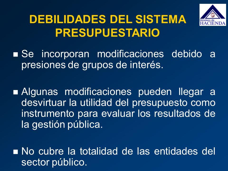 DEBILIDADES DEL SISTEMA PRESUPUESTARIO Se incorporan modificaciones debido a presiones de grupos de interés. Algunas modificaciones pueden llegar a de