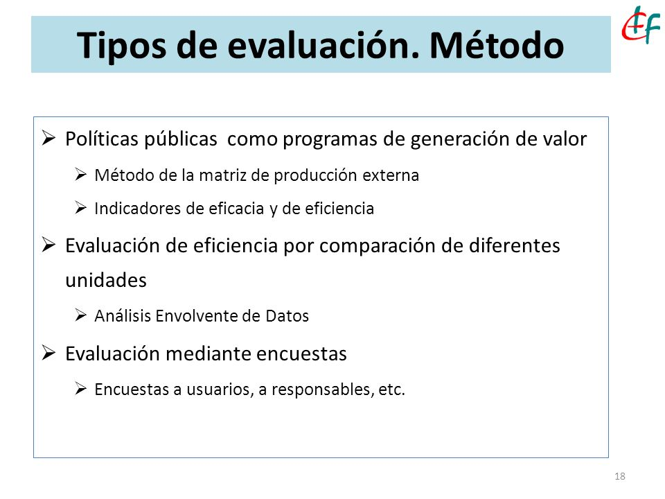 Tipos de evaluación. Método 18 Políticas públicas como programas de generación de valor Método de la matriz de producción externa Indicadores de efica
