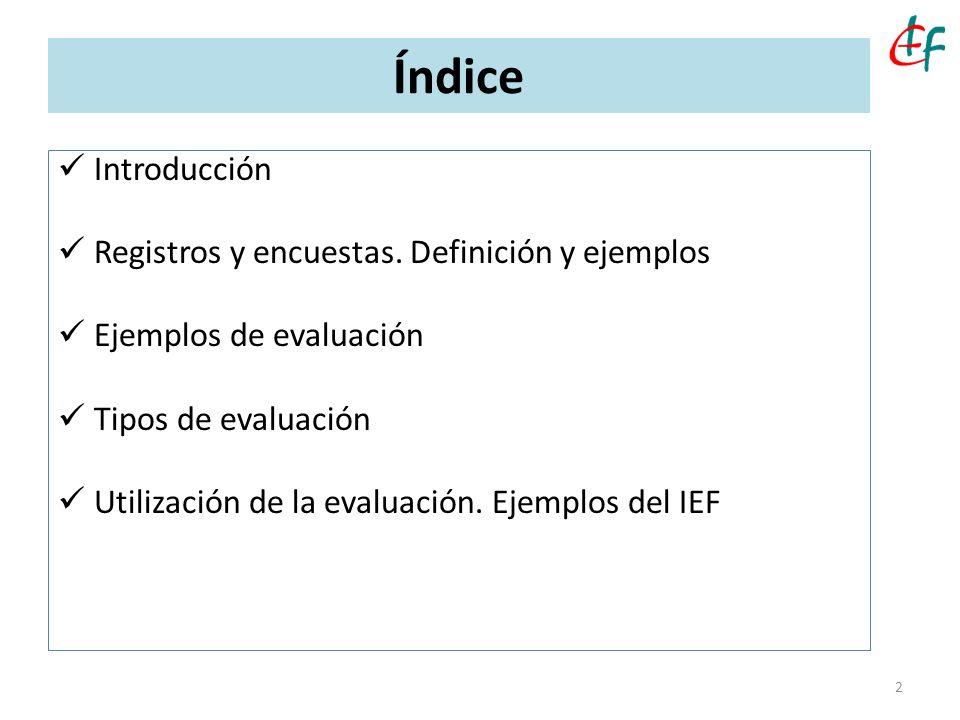 Índice Introducción Registros y encuestas. Definición y ejemplos Ejemplos de evaluación Tipos de evaluación Utilización de la evaluación. Ejemplos del