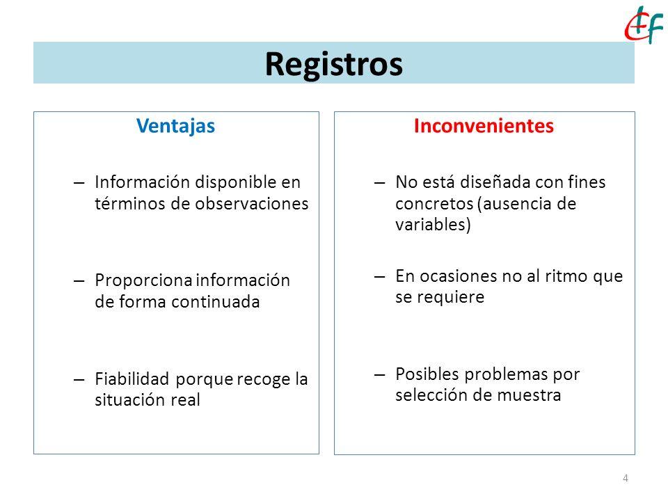 4 Registros Ventajas – Información disponible en términos de observaciones – Proporciona información de forma continuada – Fiabilidad porque recoge la