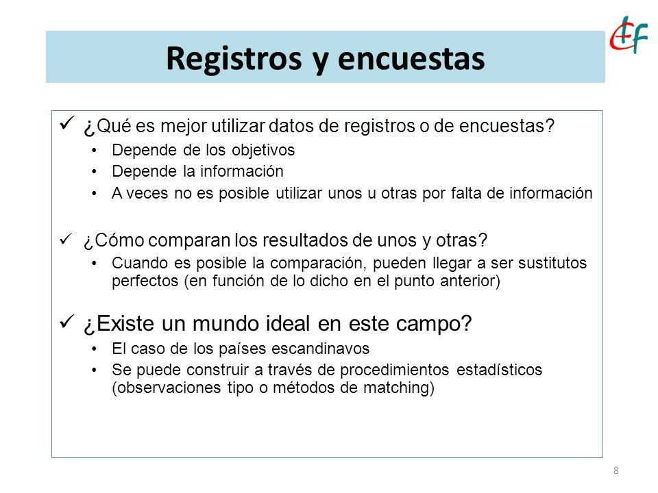 8 Registros y encuestas ¿ Qué es mejor utilizar datos de registros o de encuestas? Depende de los objetivos Depende la información A veces no es posib