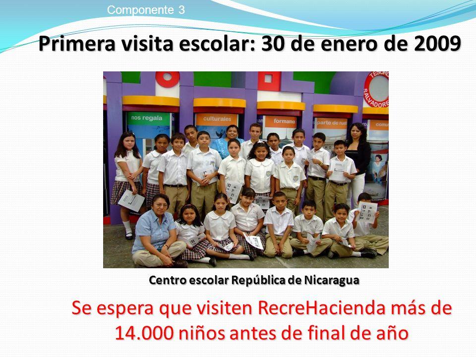 Primera visita escolar: 30 de enero de 2009 Componente 3 Centro escolar República de Nicaragua Se espera que visiten RecreHacienda más de 14.000 niños