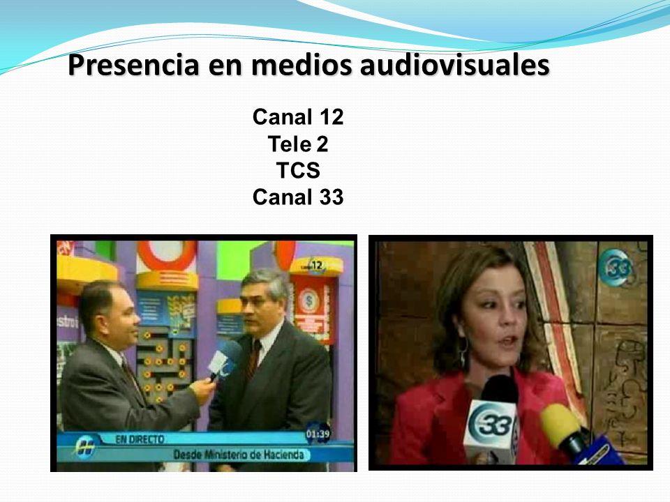Presencia en medios audiovisuales Canal 12 Tele 2 TCS Canal 33
