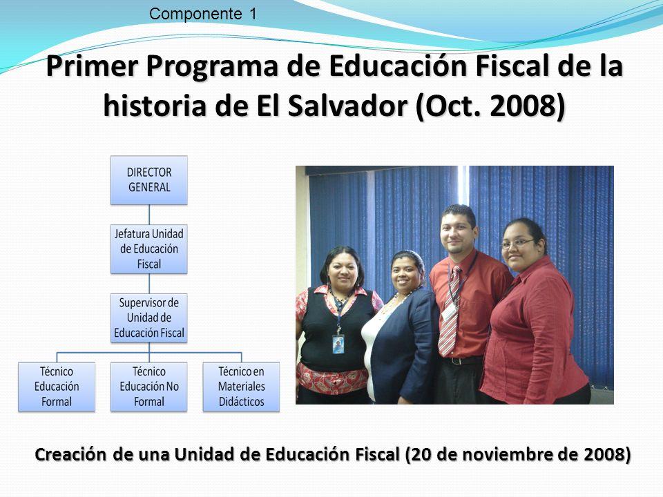 Componente 1 Primer Programa de Educación Fiscal de la historia de El Salvador (Oct. 2008) Creación de una Unidad de Educación Fiscal (20 de noviembre