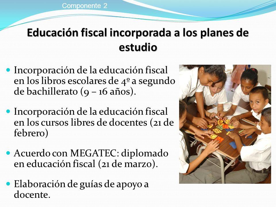 Educación fiscal incorporada a los planes de estudio Incorporación de la educación fiscal en los libros escolares de 4º a segundo de bachillerato (9 –