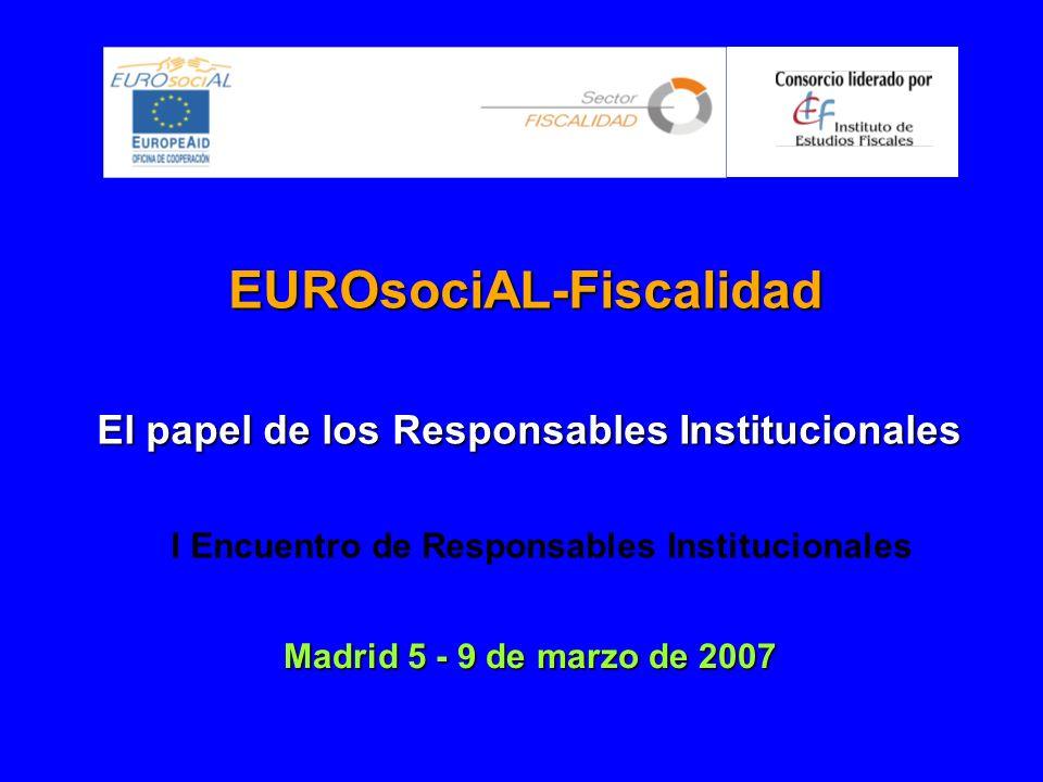 EUROsociAL-Fiscalidad El papel de los Responsables Institucionales Madrid 5 - 9 de marzo de 2007 I Encuentro de Responsables Institucionales