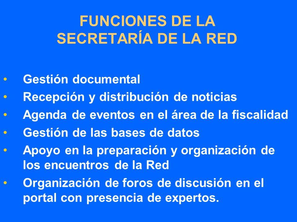 FUNCIONES DE LA SECRETARÍA DE LA RED Gestión documental Recepción y distribución de noticias Agenda de eventos en el área de la fiscalidad Gestión de las bases de datos Apoyo en la preparación y organización de los encuentros de la Red Organización de foros de discusión en el portal con presencia de expertos.