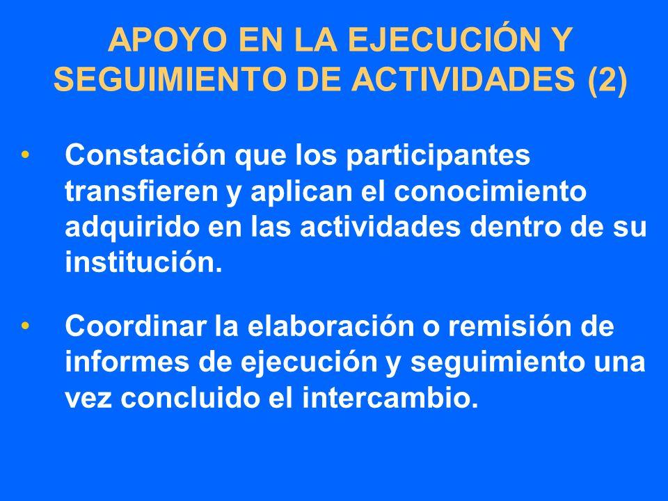 APOYO EN LA EJECUCIÓN Y SEGUIMIENTO DE ACTIVIDADES (2) Constación que los participantes transfieren y aplican el conocimiento adquirido en las actividades dentro de su institución.