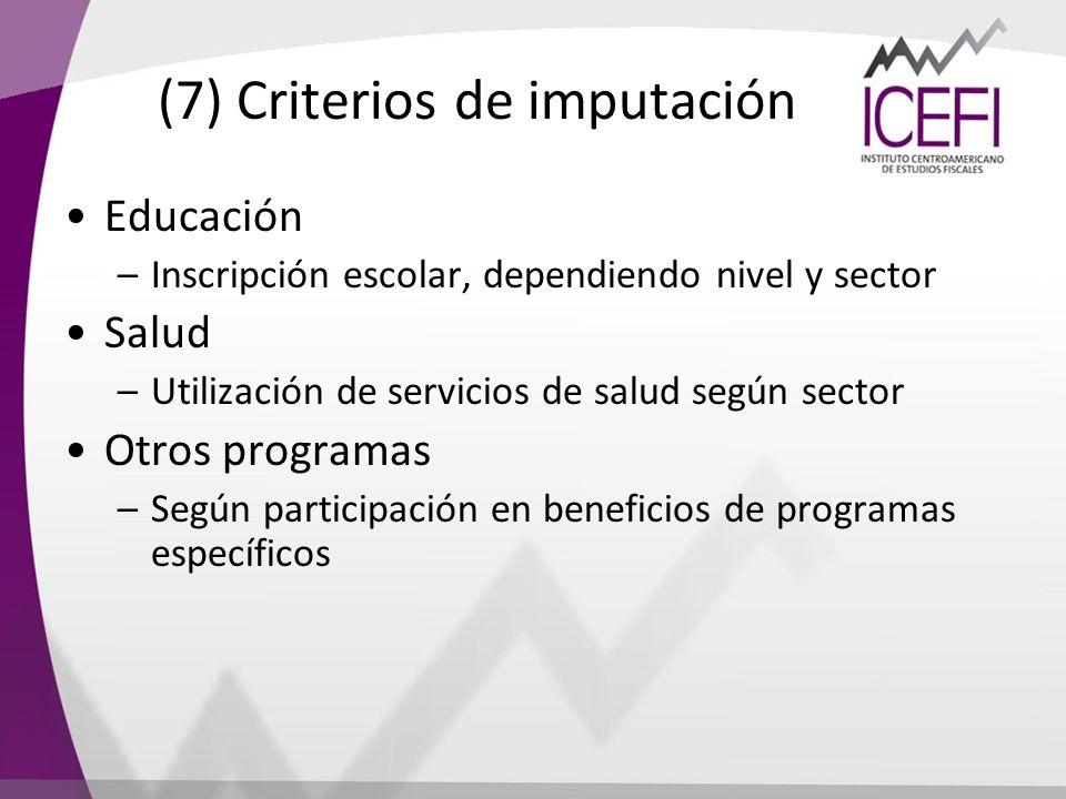 (7) Criterios de imputación Educación –Inscripción escolar, dependiendo nivel y sector Salud –Utilización de servicios de salud según sector Otros pro